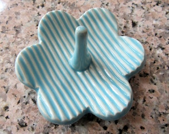 Light Blue Ring Dish, Clay Pottery Ring Holder, Jewelry Organizer, Gift for Her, ready to mail