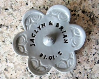 Wedding Dish - Personalized Ring Dish with Your Custom Message, date or names - Ceramic Pottery