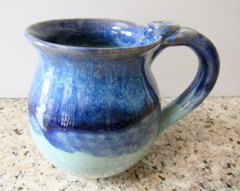Coffee Cup, Light, Medium and Dark Blue Mug, 14 oz, Ready to Ship