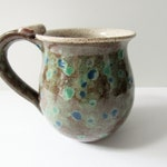 Spotted and Speckled Pottery Mug - Ceramic Coffee Cup - 15 oz - Ready to Ship