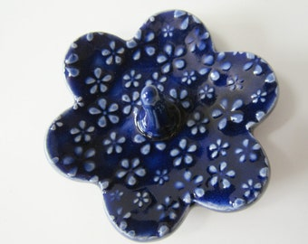 Cobalt blue Ring Holder with light blue flowers - Blue Ring Dish - dish with raised flower blossom texture - Ring Bowl
