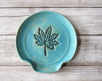 Turquoise leaf spoon rest, for coffee bar or stove, ready to ship
