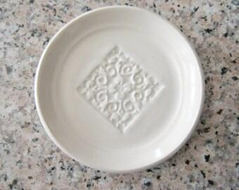 Anneau plat, repose-cuillère ou sachet de thé porte, vitrage en blanc