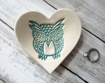Trinket dish, Owl, Spoon Rest, turquoise and white, heart shape