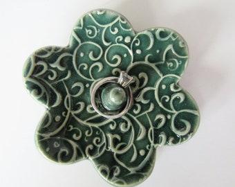 Elegant Ring Holder - Rainforest Green Ceramic Ring Dish - Raised Texture Ring Bowl - Glazed in Green - handmade