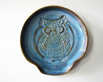 Spoon Rest, owl design, glazed in speckled glazes, wheel thrown Pottery