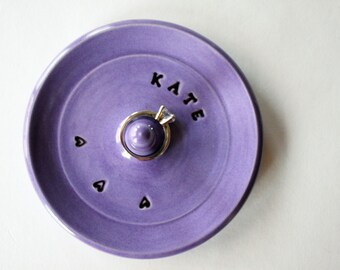 Engagement Ring Holder, Ring Holder, Dish with Name,  Personalized Ring Dish, Ring Bowl, Wheelthrown Pottery, Made to Order for You