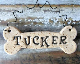 Dog Bone Ornament, personalized dog bone, made to order, bespoke bauble
