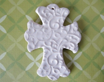 Embossed Cross Ornament - ceramic clay - handmade - ready to mail - soft white with scroll design