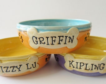 Small size Dog Food Bowl  // Custom Name Custom Color // Made to order