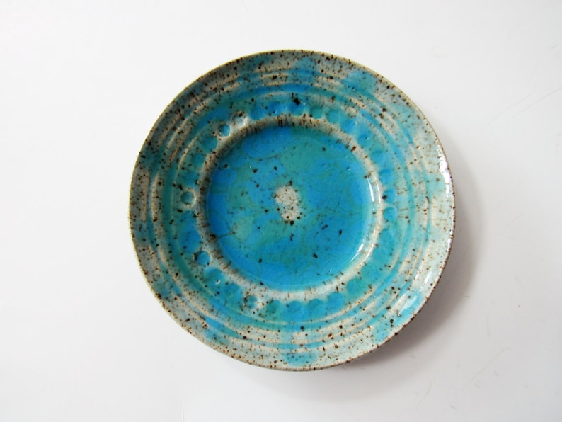 Textured Ring Holder handmade Beautiful blue Ring Dish candle dish