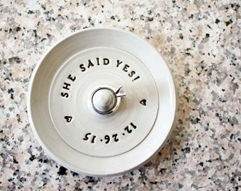 Custom Stamped Clay Engagement Ring Holder, Personalized Ring Dish, Wheel Thrown, Clay Pottery, Made to Order, Bespoke gift