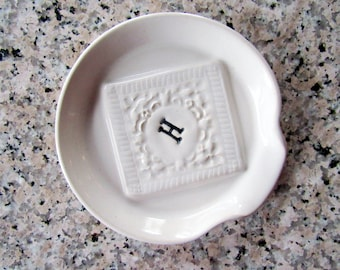 Spoon Rest with Custom Monogram Initial - Ladle Rest - Glazed in your color choice - Handmade studio pottery