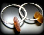 Sea Glass Jewelry, Amber Brown Hoop Earrings - Genuine Sea Glass - Sterling Silver Hoops, Jewellery, Seaglass, Beach Glass