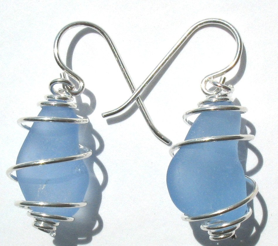 Blue sea glass earrings wire wrapped jewelry seaglass earrings frosted glass beads sterling silver handmade beaded bridesmaids jewelry