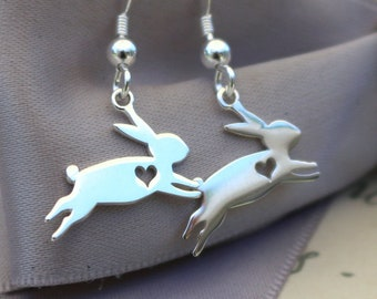 Bunny Rabbit earrings, Sterling silver with Sterling earwires with optional crystals
