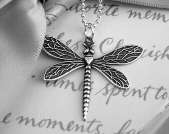 Dragonfly necklace Silver plated brass on 16 inch Sterling Silver chain