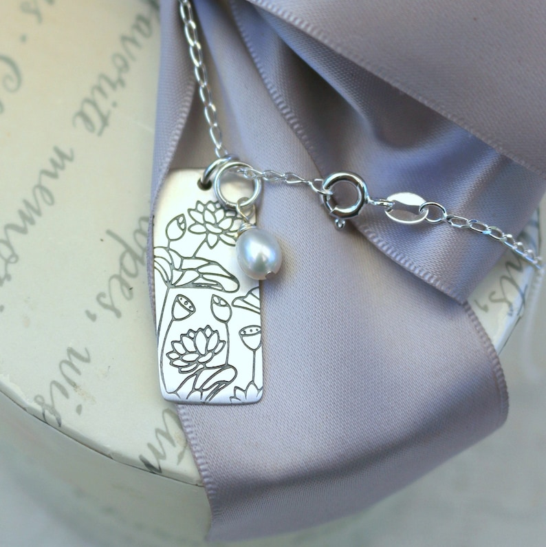 Lotus etched tag Sterling pendant necklace with 18 inch Sterling chain
