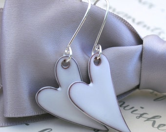 Enameled Hearts with Sterling Silver curly earwires