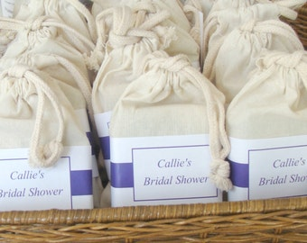 Wedding Soap Favors, 48 Full Sized Bars, Mulin Bags, Custom Label, Pick Your Own Scent,  Wedding Birthday, Baby Favors, Corporate Events