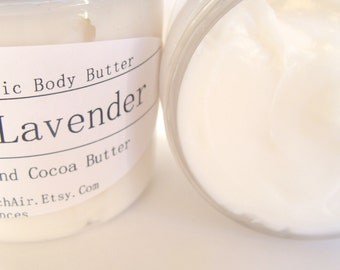 Lavender  Shea Cocoa Body Butter Balm - Sweet Earthy Essential Oil Lotion Travel Size