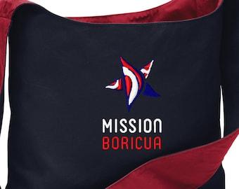 Mission Boricua Embroidered Cotton Canvas Sling Bag Puerto Rican Pride