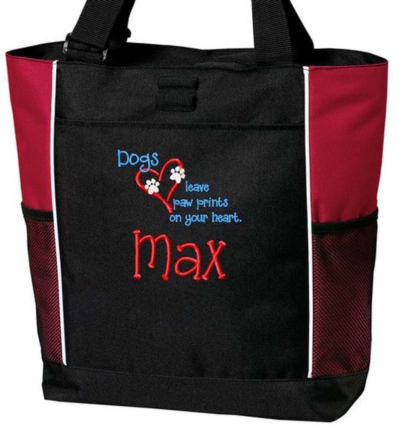 Personalized Dog Pet Tote Bag Embroidered Heart Paws
