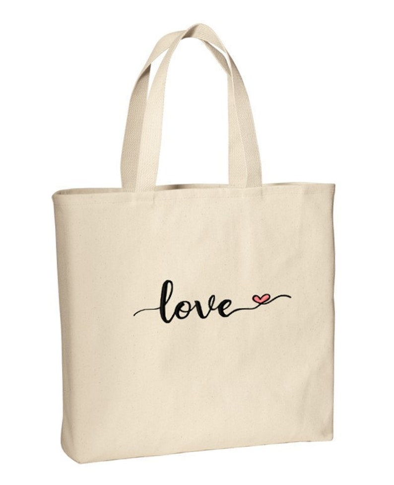 Love Heart Embroidered Natural Canvas Tote Bag