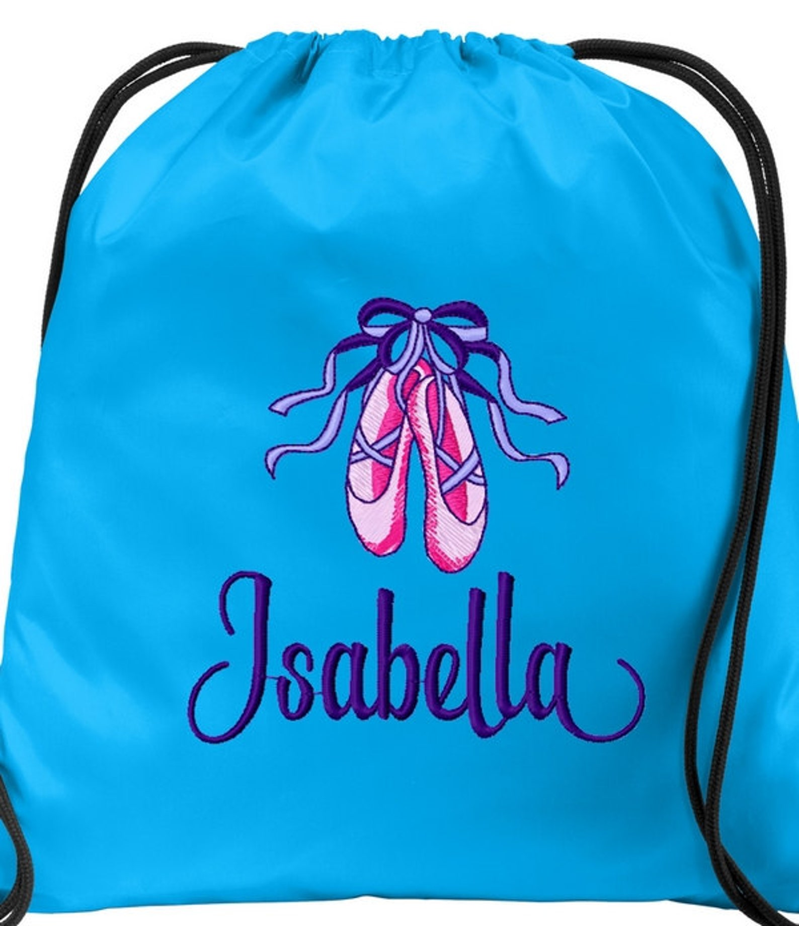personalized ballerina bag with girls name dance ballet shoes cinch bag sack drawsting backpack custom embroidered