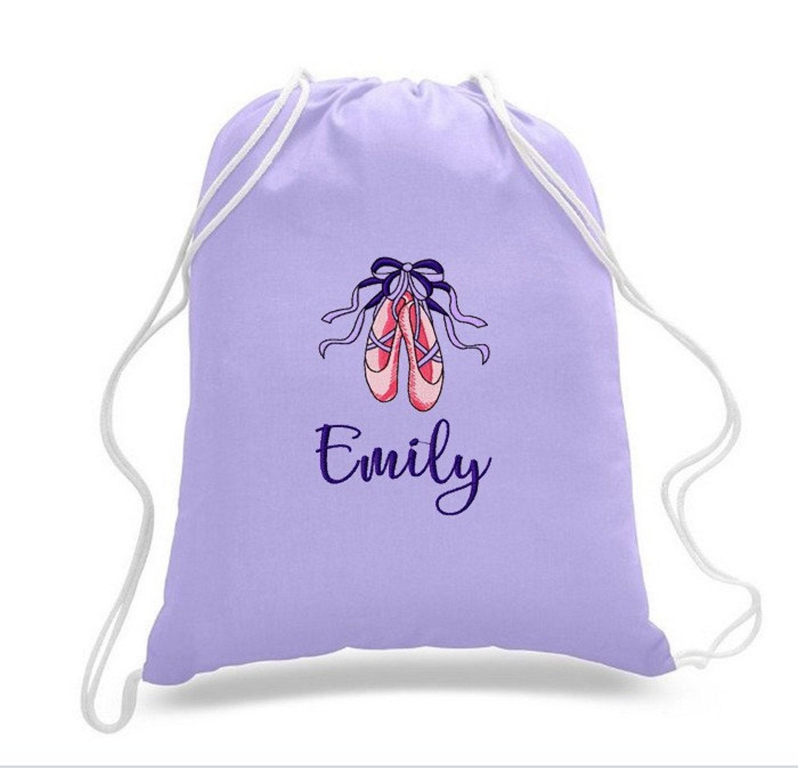 personalized dance ballet shoes drawstring backpack ballerina girl cinch bag sack custom embroidered
