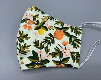 Rifle Paper Co, Machine Washable Cotton Face Mask w Filter Pocket and Nose Wire, Proceeds to be Donated, PRIMAVERA CITRUS FLORAL