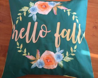 Pillow Cover / Throw Pillow Cover / Fall pillow cover / hello fall / watercolor floral pillow cover / 15x15 / 14x14