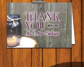 Thank You Card / Wedding Thank You Card / Mason Jar Thank You Card / Thank You / Rustic Thank You / Personalized Thank You
