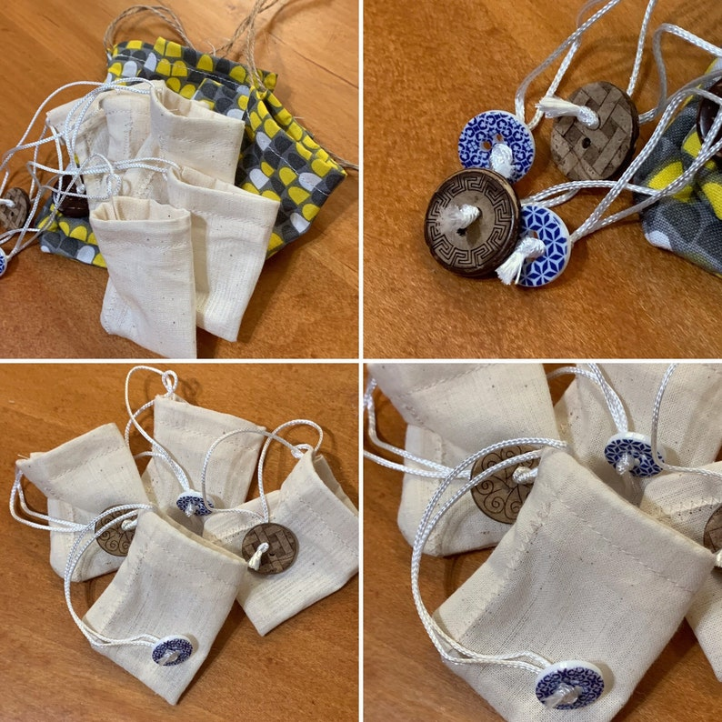 Three Reusable Tea Bags 100% Muslin Cotton with choice of gift image 0