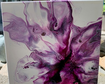 Purple abstract Flower Acrylic dutch pour painting. Wall Art Decor. 8 x 8 inches