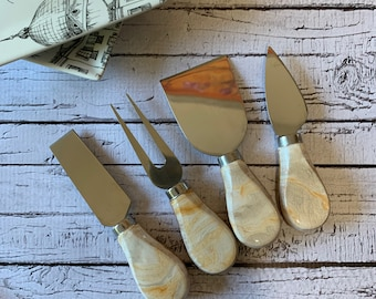 Hand painted Cheese Knives. Set of 4 Cheese knives. Charcuterie cheese knife set.