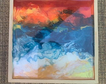 Blue & Gold Sunset Beach. Acrylic Poured Painting 6x6
