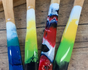 Hand painted Butter Knife. Painted Wooden spreader
