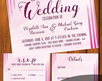 Watercolor Wedding Invitation / Pink Watercolor Wedding Suite /Pink / Invitation Suite / Traditional / Wedding / Anniversary / Fuschia
