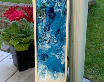 Tropcial Beach Fluid Art Home Decor. Blue & Gold Beach Painting. Inspirational Wall Art Decor.