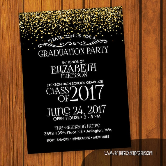 graduation party invitation gold glitter graduation party etsy