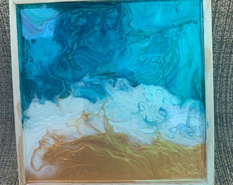 Blue & Gold Acrylic Pour painting. Wall Art Decor. 6 x 6 inches