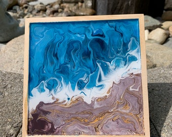 Blue & Brown Rocky Beach Acrylic Pour painting. Wall Art Decor. 6 x 6 inches