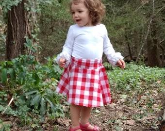 e3ecd71213 Red & White Girls Gingham Plaid Checked Cotton Skirt, Toddler Skirt, Skater  Skirt, Scooter Skirt, Square Dancing Skirt, Size 2T - Girls 12