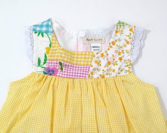6c276bf3f43 18-24 Months Patchwork Flutter Sleeve Baby Girls Easter Dress Yellow Gingham  Checked Skirt