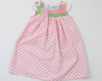 260801d3f16 12-18 Months Patchwork Flutter Sleeve Baby Girls Easter Dress with Pink  Gingham Checked Skirt
