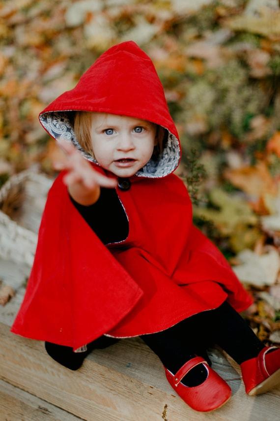 Cape RED Riding Hood Warm Fleece Cloak Ribbon Kid/'s /& Women/'s Halloween Costume