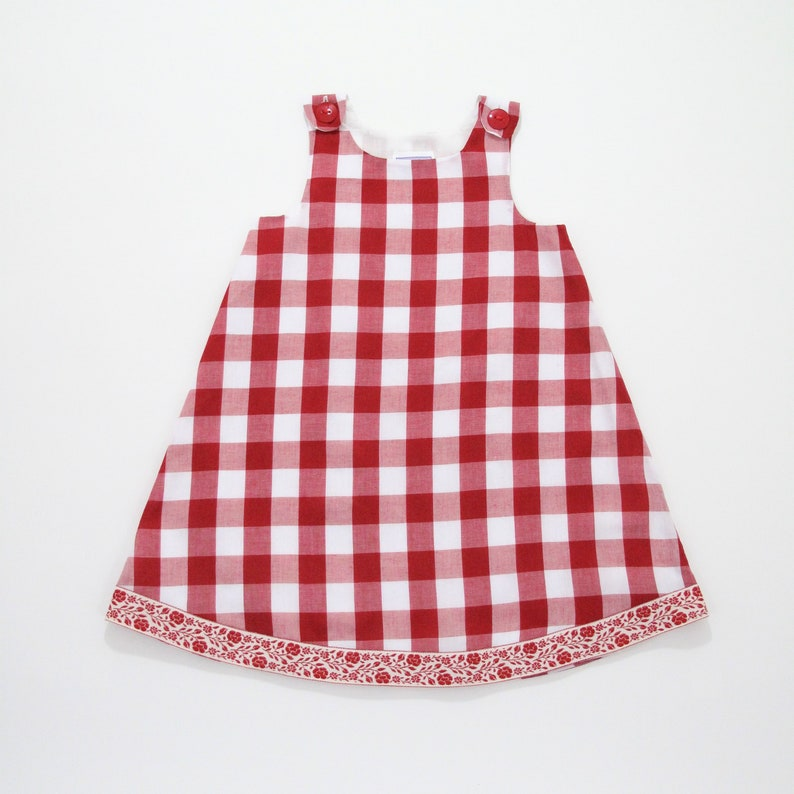 c4281f94921 Red Gingham Checked Baby Dress Picnic Dress County Fair