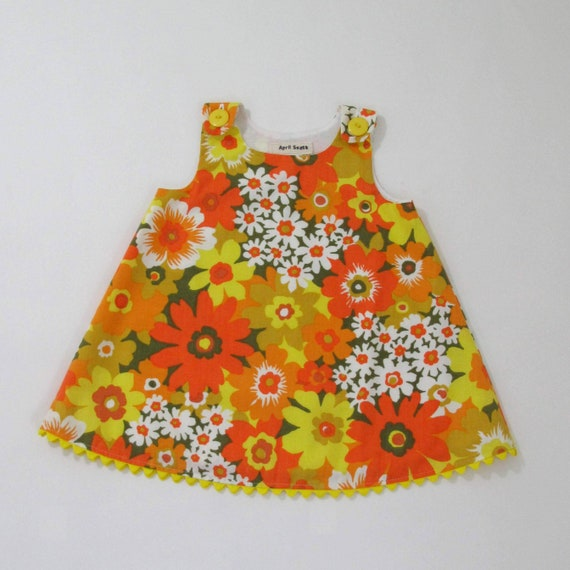 3eccbeae48c5 Orange Floral Baby Dress Newborn Outfit Girls Dresses Baby