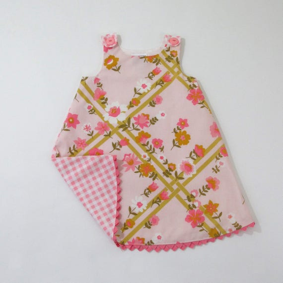 38c661d8a35 Rose Trellis Pink Floral Baby Dress with Pink Gingham Girls